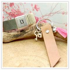 DQ leer armband en sleutelhanger
