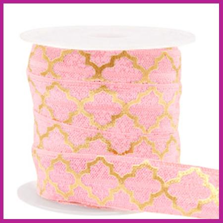 Elastisch sierlint per 25cm Maroccan pattern vintage pink gold