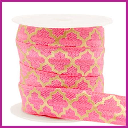 Elastisch sierlint per 25cm Maroccan pattern rouge pink gold