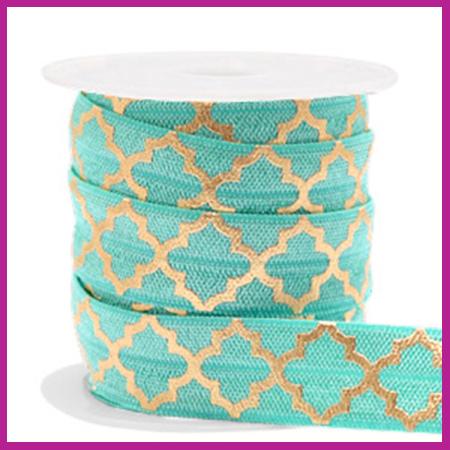 Elastisch sierlint per 25cm Maroccan pattern turquoise gold