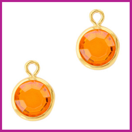 DQ Hangers van crystal glas rond 6mm Gold-Sun orange