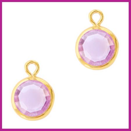 DQ Hangers van crystal glas rond 6mm Gold-Violet purple