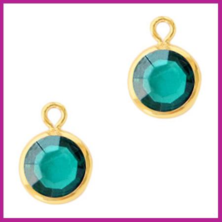 DQ Hangers van crystal glas rond 6mm Gold-Blue zircon