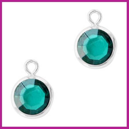 DQ Hangers van crystal glas rond 6mm Silver-Blue zircon