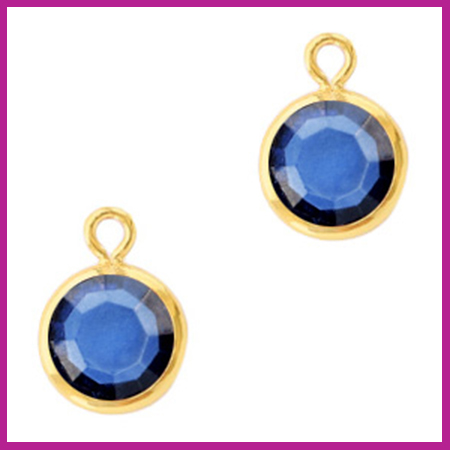 DQ Hangers van crystal glas rond 6mm Gold-Denim blue