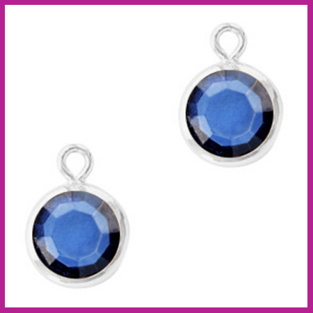 DQ Hangers van crystal glas rond 6mm Silver-Denim blue