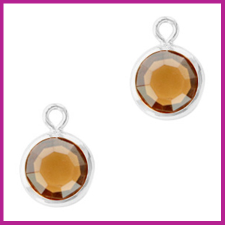DQ Hangers van crystal glas rond 6mm Silver-Topaz