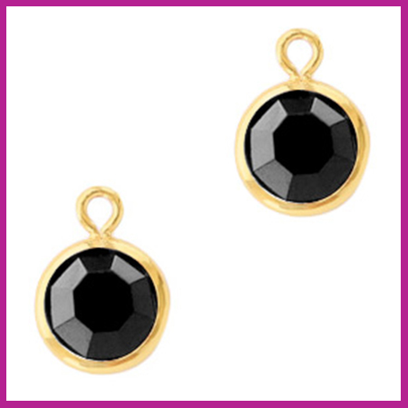 DQ Hangers van crystal glas rond 6mm Gold-Jet black