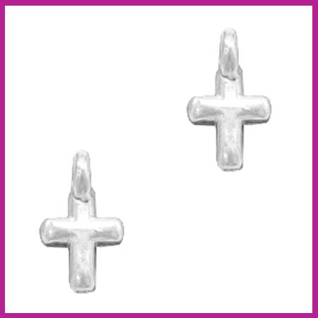 DQ metaal bedel kruisje Antiek zilver