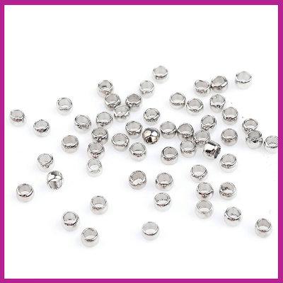 DQ metaal knijpkralen 2mm Antiek zilver