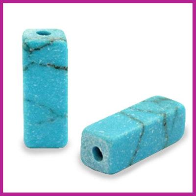 Natuursteen kraal tube Turquoise blue marmer