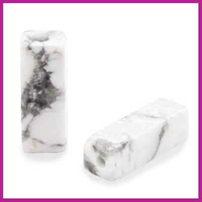 Natuursteen kraal tube Turquoise white marmer