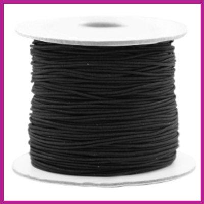 Gekleurd elastisch draad Ø0,8mm per meter Zwart