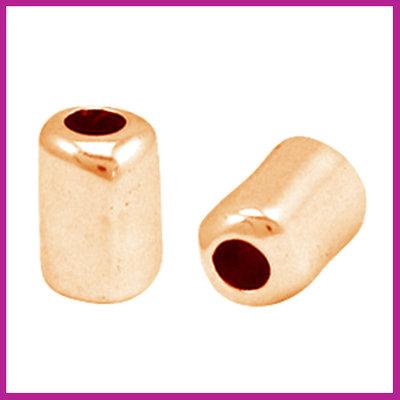 DQ metaal kraal tube 10x7mm Rosegold