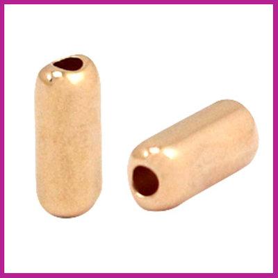 DQ metaal kraal tube 12x5mm Rosegold