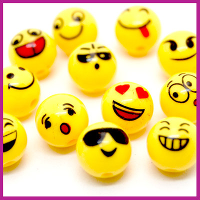 Kunststof kralenmix rond Ø10mm geel Emoji
