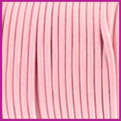 DQ leer rond 2 mm Blossom pink metallic per 50cm