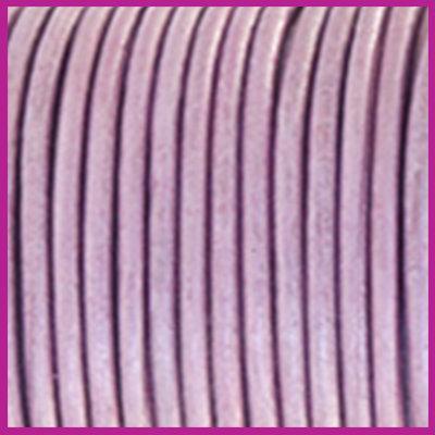 DQ leer rond 2 mm Lilac purple metallic per 50cm