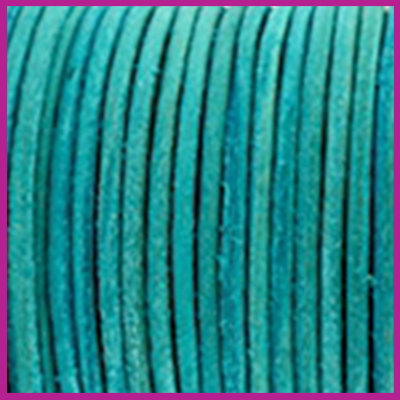 DQ leer rond 2 mm Antique turquoise green per 50cm