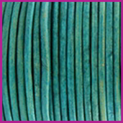 DQ leer rond 2 mm Vintage dark turquoise green per 50cm