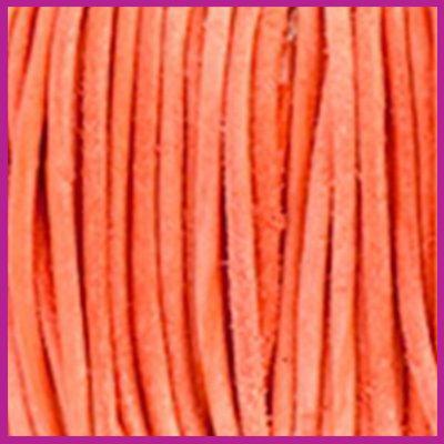 DQ leer rond 2 mm Antique dark orange per 50cm