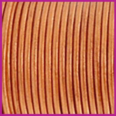 DQ leer rond 2 mm Copper gold metallic per 50cm