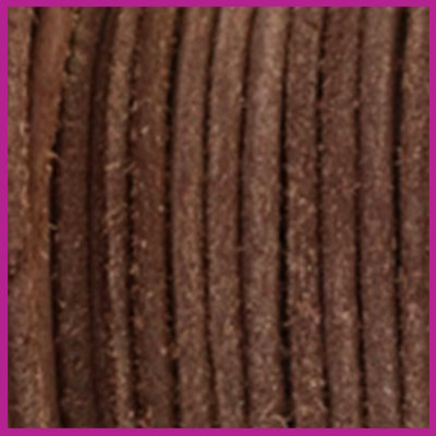DQ leer rond 2 mm Red brown vintage finish per 50cm