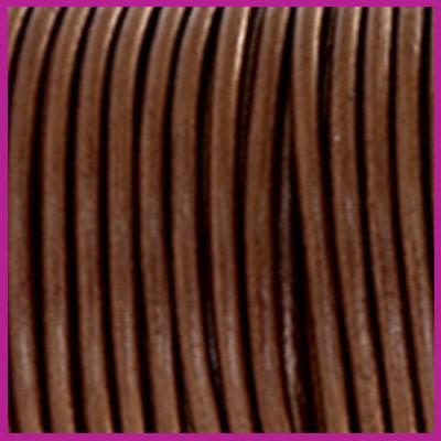 DQ leer rond 2 mm Pecan brown metallic per 50cm