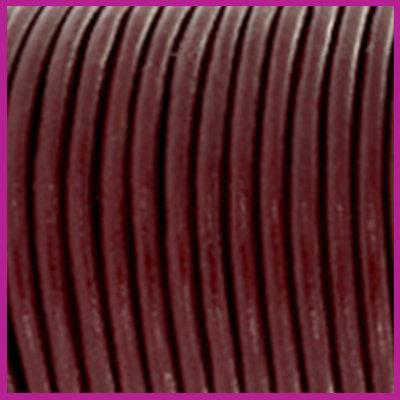 DQ leer rond 2 mm Mahogany brown per 50cm