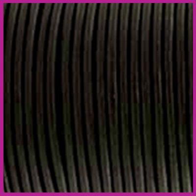 DQ leer rond 2 mm zwart metallic per 50cm