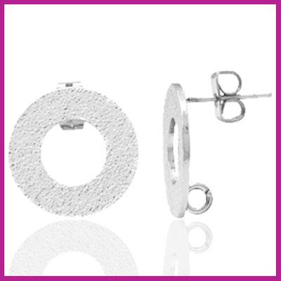 DQ metaal earpin rond met oogje Antiek zilver