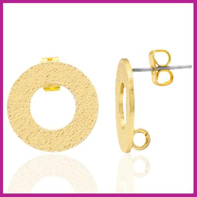 DQ metaal earpin rond met oogje Goud