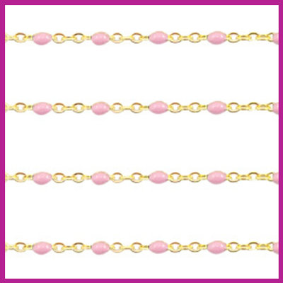 (RVS) Stainless steel jasseron ca. 49cm x 1mm Light pink-goud