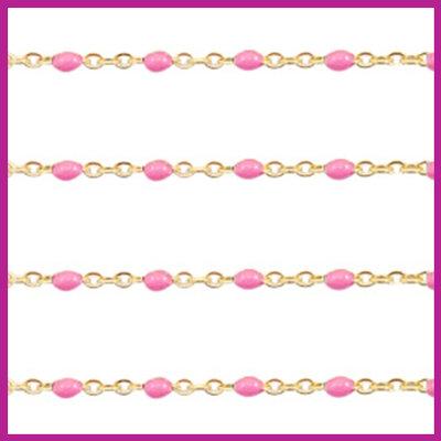 (RVS) Stainless steel jasseron ca. 49cm x 1mm Pink-goud