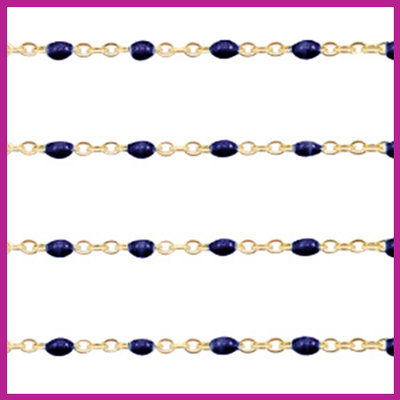 (RVS) Stainless steel jasseron ca. 49cm x 1mm Donker blauw-goud