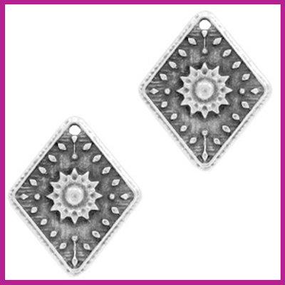 DQ metaal bedel flower rhombus Antiek zilver