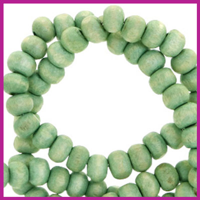 Houten kralen Nature rond Ø8mm Spearmint green