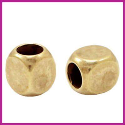DQ metaal kraal cube Antiek brons