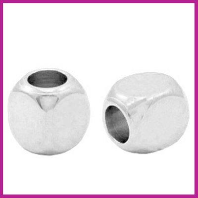 DQ metaal kraal cube Antiek zilver