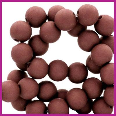 Acryl kraal mat rond 6mm Brick brown