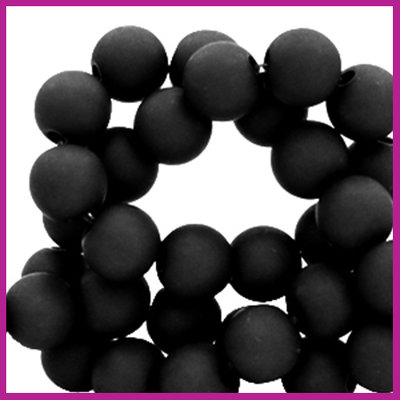 Acryl kraal mat rond 6mm Black