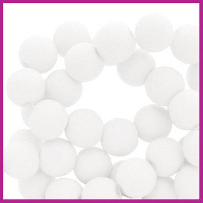 Acryl kraal mat rond 6mm White
