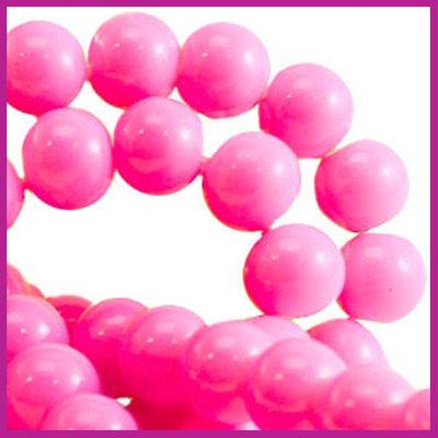 Glaskraal baked - keramisch Ø6mm Fel licht roze