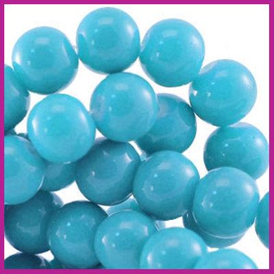 Glaskraal baked - keramisch Ø8mm Licht blauw