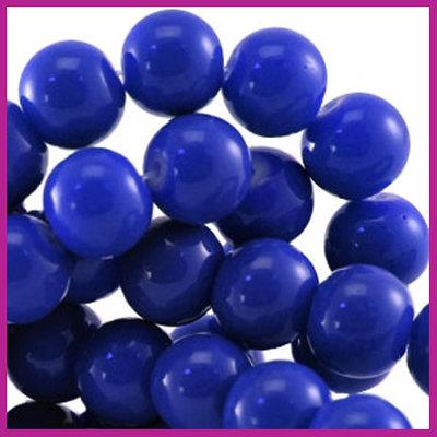 Glaskraal baked - keramisch Ø8mm Cobalt blauw