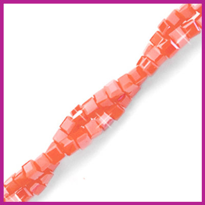 Glaskraal facet cube 2x2mm Burnt coral pink pearl shine