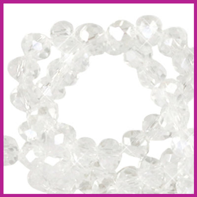 Glaskraal top facet disc 6x4mm Crystal pearl shine