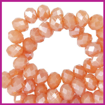 Glaskraal top facet disc 6x4mm Dark dust orange pearl shine