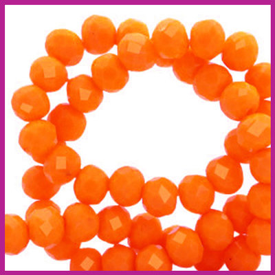 Glaskraal top facet disc 6x4mm Emberglow orange pearl shine