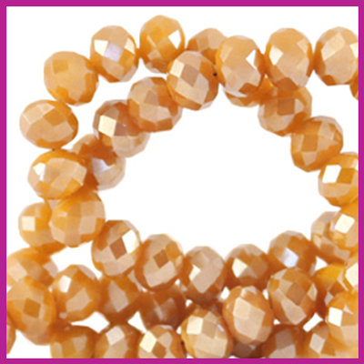 Glaskraal top facet disc 6x4mm Bleached apricot orange pearl shine